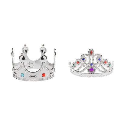 2pcs Royal Jewels King Queen Majestic Crown Fancy Dress Costume Accessories