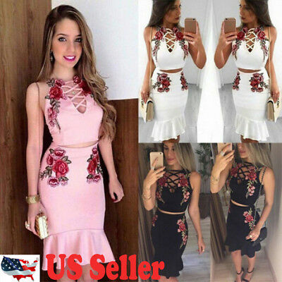 USWomen Slim Bandage Bodycon Sleeveless Club Evening Party Mini Dress Vest Dress