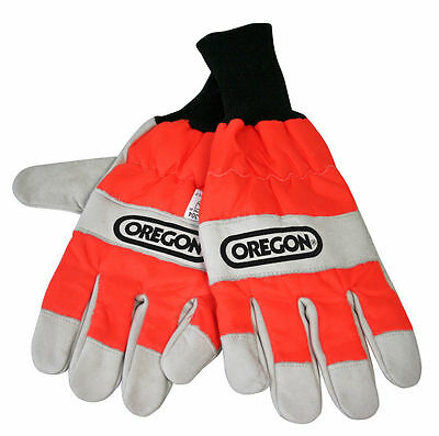 Oregon Chainsaw Protective Gloves - Smooth Leather Hi Vis Glove S - XL 91305