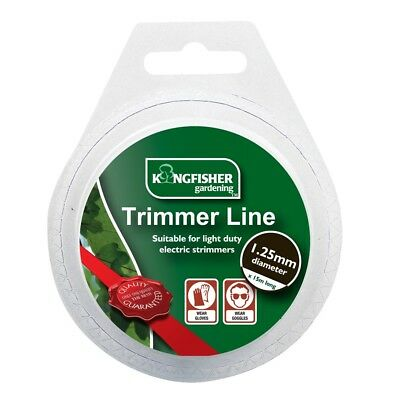 1.25mm X 15m Long White Round Trimmer Cord Line Bushcutter Electric Strimmer New
