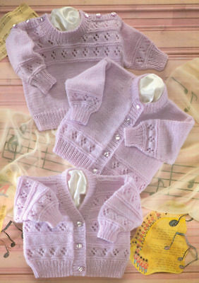 """Baby Children Knitting Pattern JUMPERS Cardigans Copy 41-56 cm  16-22"""" 8 Ply"""