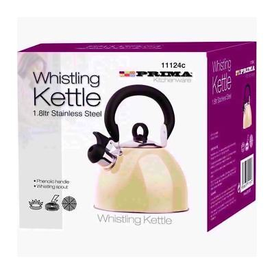 Prima Stainless Steel Whistling Kettle 2.5lt Cream Home Kitchen Camping Caravan