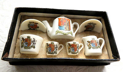 Antique Miniature Toy Tea Set,town Crested & Royal Coat Of Arms.boxed.