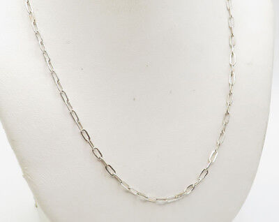9df06591589 YSL 925 Sterling Silver - Vintage Slim Oval Chain Link Necklace 4.2g (6918)