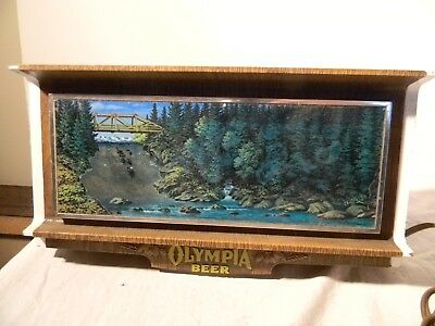 1950's Olympia Beer Waterfall Lighted Motion Bar Light Works Great All Original