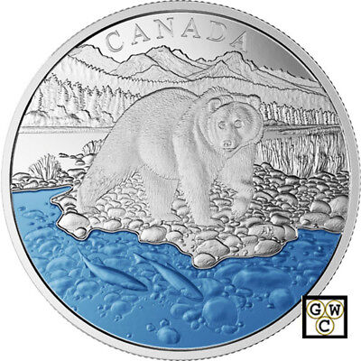 2017 'Grizzly Bear-Iconic Canada' Enameled Prf $20 Silver Coin 1oz .9999(18116)