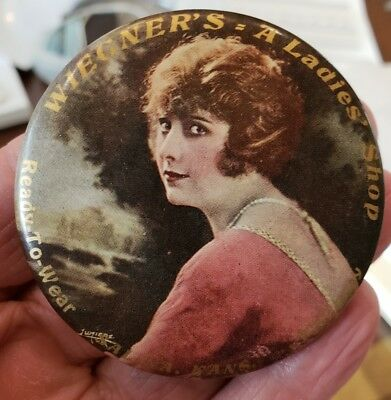 Old SALINA KANSAS, Wiegner's Ladies' Shop Advertising Pocket Mirror Pin Holder