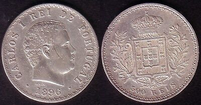PORTUGAL (King D.Carlos I) - 1 Coin of 500 Reis . 1896 - (Silver)