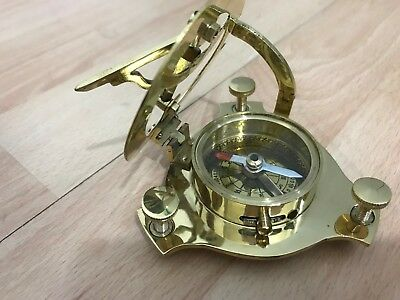 Antique Look Nautical Brass Pocket Sundial With Magnetic Compass