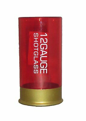 Shotgun Shell Shot Glass Red Gold New 12 Gauge Plastic Hunter Hunting