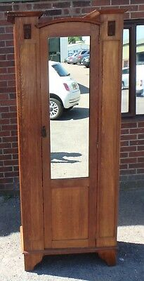 Edwardian antique Arts & Crafts Liberty & Co. solid oak hall single wardrobe