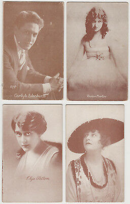 Lot of 28 Vintage 1920s Film Star Postcards - Brown Exhibit Arcade Card Style