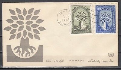 Persia, Scott cat. 1154-1155. United Nations, Refugee Year. First day cover.