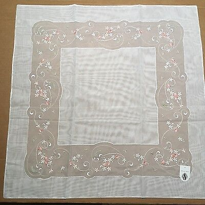 German Plauener Spitze Square Embroidered Tablecloth - NEW