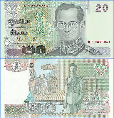 Thailand 20 BAHT sign 76 ND 2003 P 109 UNC - US Seller