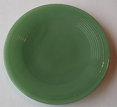 Akro Agate Small Concentric Ring / Stacked Disc Glass Green Plate ~ 4 Available
