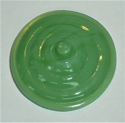 Akro Agate Small Stacked Disc Glass Green Teapot Lid