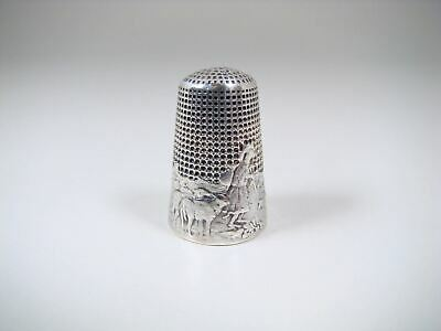 Antique R Lorillon Lafontaine Fable 'The Wolf Turned Shepherd' Silver Thimble