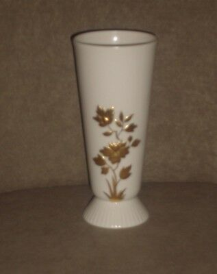 Rare Vintage Lenox Tall Ivory Vase With Gold Flowers & Leaves ~ Old Blue Mark