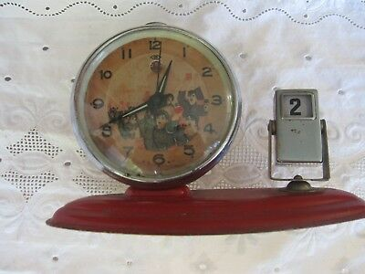 """Antique """"Chinese Civil War/ Red Army Collectible Metal Alarm Clock w/Moving Part"""