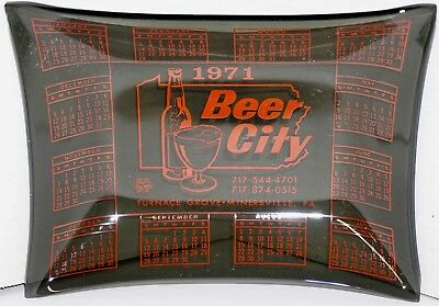 Vintage 1971 Beer City Smoke Glass Calendar Tray Dish Bowl Minersville PA