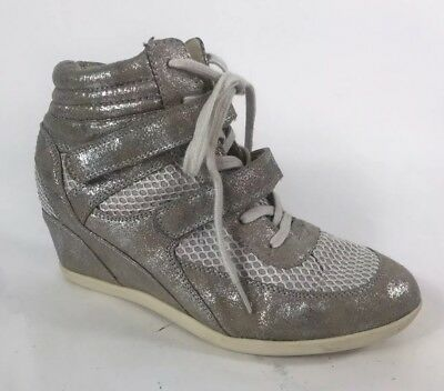 7c3dc4a0a23 Madden Girl Hickorry Hi-top Wedge Sneaker Silver Metallic Glitter Sparkle  Sz 9