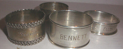 Vintage lot of 4 sterling Silver Napkin Ring rings Wilcox , Gorham  Wallace