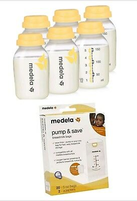 Medela Pump & Save Breastmilk Bags, 20 Count 5 0z Bags Collection Bottle Storage