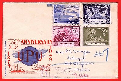 SWAZILAND - 1949 - 75th ANNIVERSARY OF U.P.U. REGISTERED  FDC  COVER TO NATAL