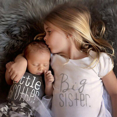 Newborn Baby Kids Little Brother Romper Big Sister T-shirt Tops Clothes Outfits