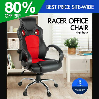 Racing Office Chair Sport Executive Computer Gaming PU Leather Mesh Red