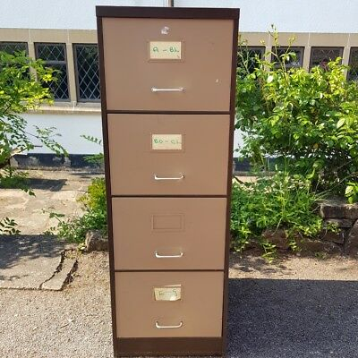 A Vintage Industrial Style Metal Retro Office or Home Four Drawer Filing Cabinet