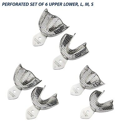SET OF 6 Dental Impression Trays Rim Lock Non-Perforated L, M,S Upper / Lower