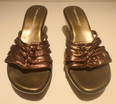 6531d2288 Athena Alexander Bronze Leather Knotted Wedge Sandals Size 9 1 2 M ( 89.99)