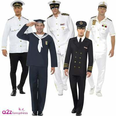 Mens Sailor Officer Seaman Captain Costume Marine Navy Naval Uniform Fancy Dress