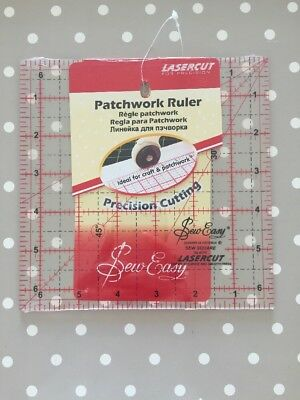"Sew Easy Lasercut Square Patchwork Ruler 6.5"" x 6.5"""