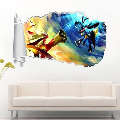 Pokemon Lucario 3D Torn Hole Ripped Wall Sticker Bedroom Decal Art Mural WT475