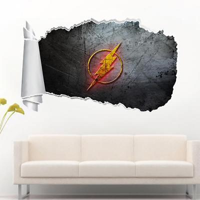 The Flash Super Hero 3D Torn Hole Ripped Wall Sticker Decal Art Mural WT465