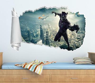 Black Panther Super Hero 3D Torn Hole Ripped Wall Sticker Decal Art Mural WT466