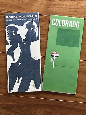 Vintage STANDARD OIL MAP OF COLORADO, USA & Rocky Mountain National Park Guide