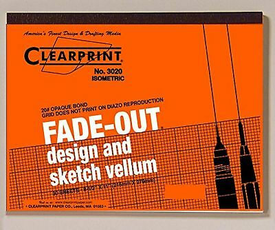 Clearprint 3020 Graph Paper Bond Pad with Printed Fade-Out 30-Degree Isometric