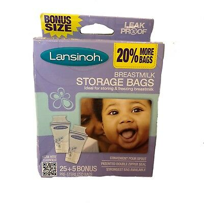 Lansinoh Breast Milk Storage Freezer Bags 30 Count Box Breastfeeding Freezing