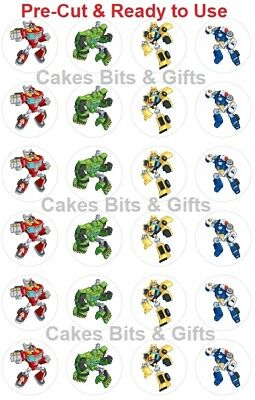 24x TRANSFORMERS RESCUE BOTS Edible Wafer Cupcake Toppers PRE-CUT Ready to Use
