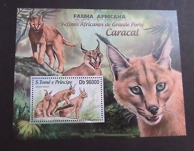 St Thomas & Prince Island 2013 MS African Cat Caracal MNH UM unmounted mint