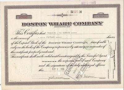 Set of 3 different stock certificates for wharf companies