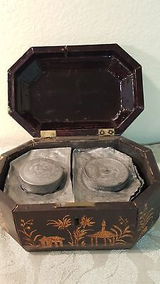 Antique Chinese Export lacquered tea Caddy wooden box