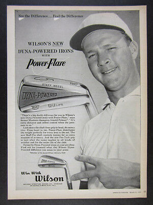 1960 Arnold Palmer photo Wilson Dyna-Powered Staff Irons golf vintage print Ad
