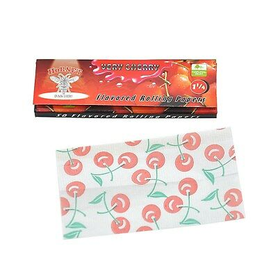 HORNET CHERRY Flavored Cigarette Rolling Paper,1 1/4 Size (10 Packs) USA