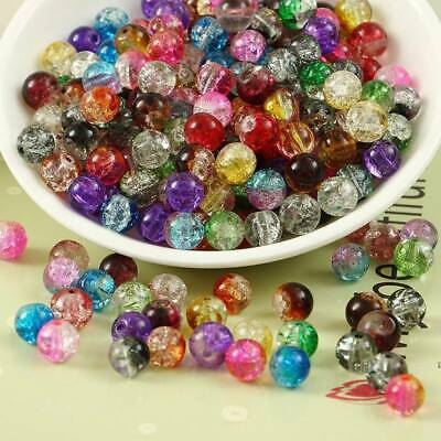 Wholesale 4~10mm Cracked Round Crystal Glass Loose Spacer Beads Jewelry Findings