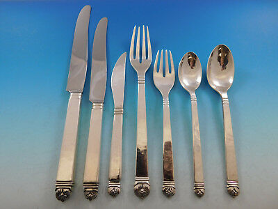 Peer Smed Handwrought Sterling Silver Flatware Set Service 82 pieces Dinner Size